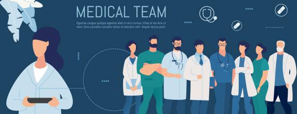 illustrazioni stock, clip art, cartoni animati e icone di tendenza di woman looking for personal medical team online - personale medico