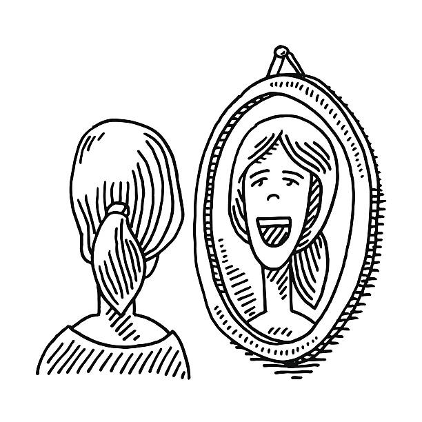woman looking into mirror drawing - toothy smile stock illustrations