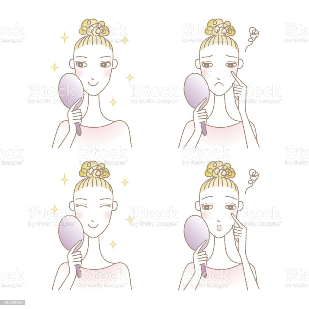 Woman looking into the hand mirror, skin trouble, skin care vector art illustration