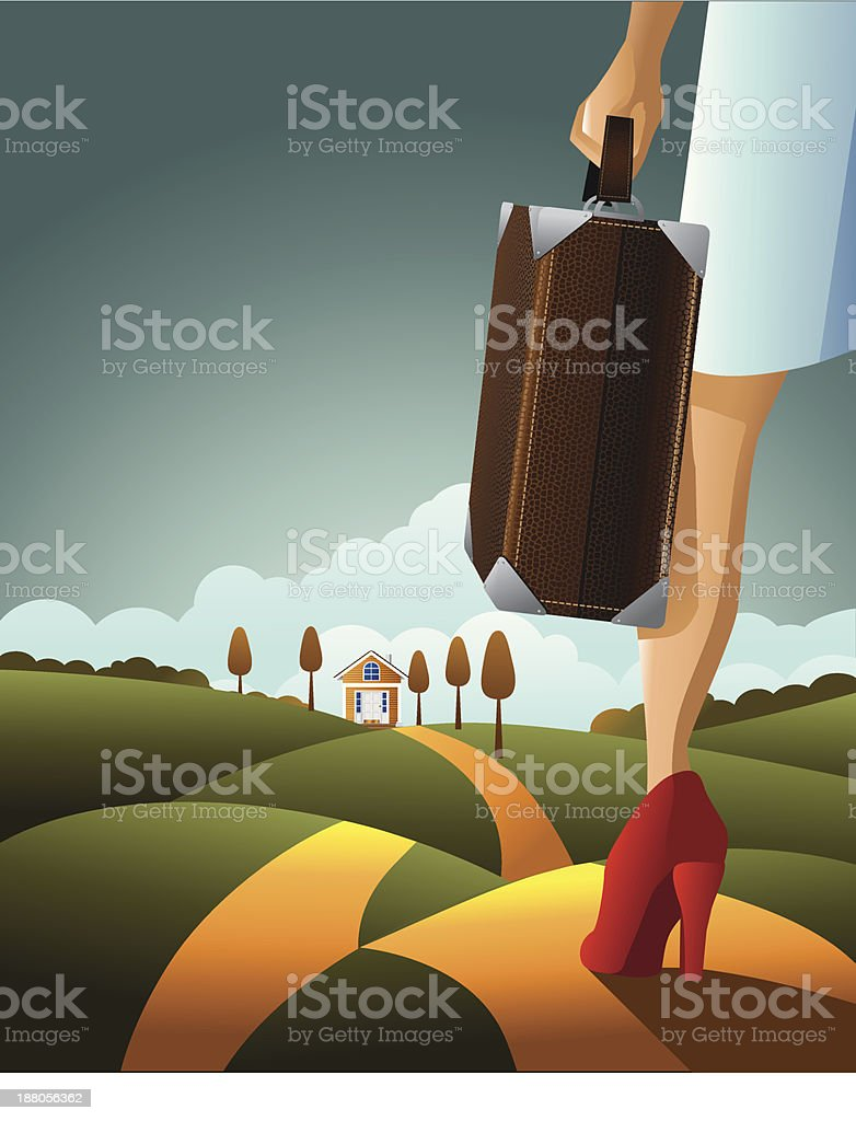Woman looking towards home royalty-free stock vector art