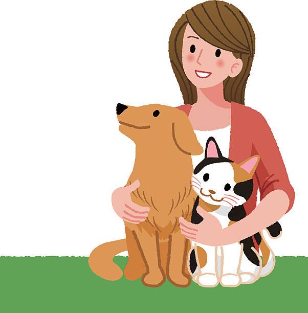 illustrations, cliparts, dessins animés et icônes de femme à la recherche avec des amis à quatre pattes - femme seule s'enlacer