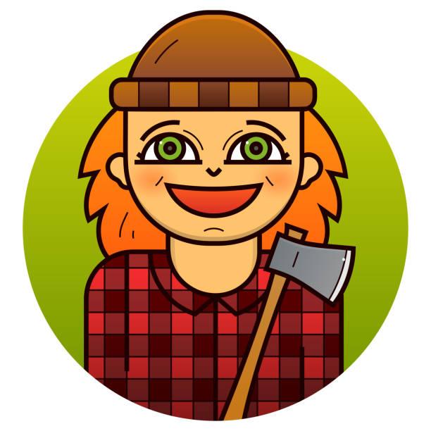 woman lumberjack vector illustration - plaid shirt stock illustrations