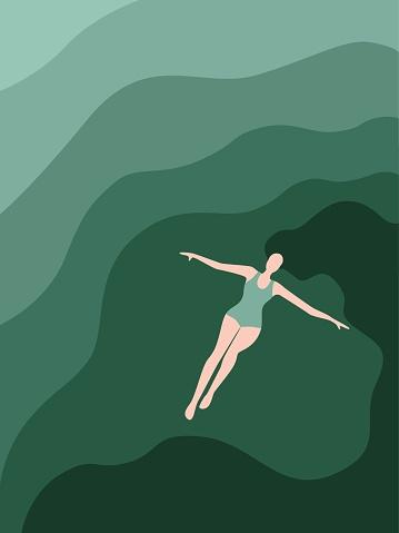 woman lying down on ocean surface flat design illustration