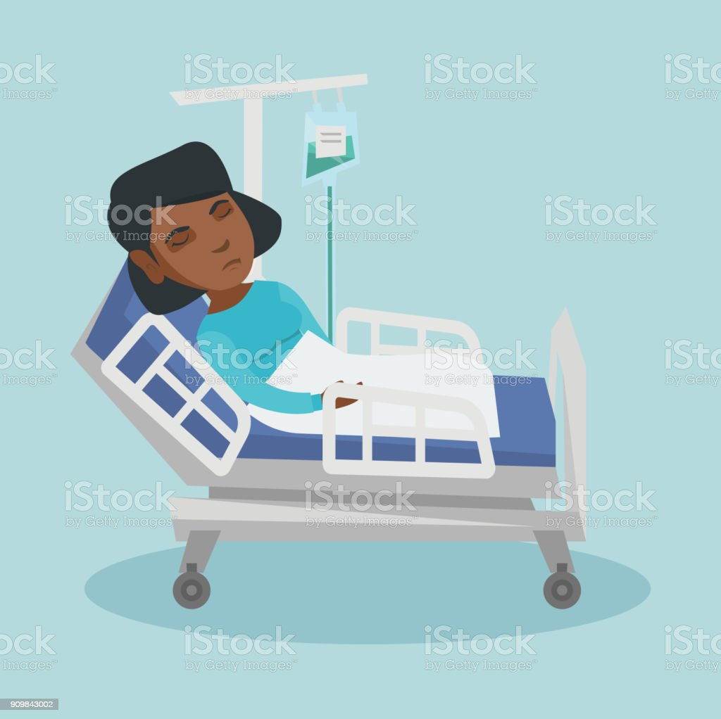 Woman lying in hospital bed with a drop counter vector art illustration