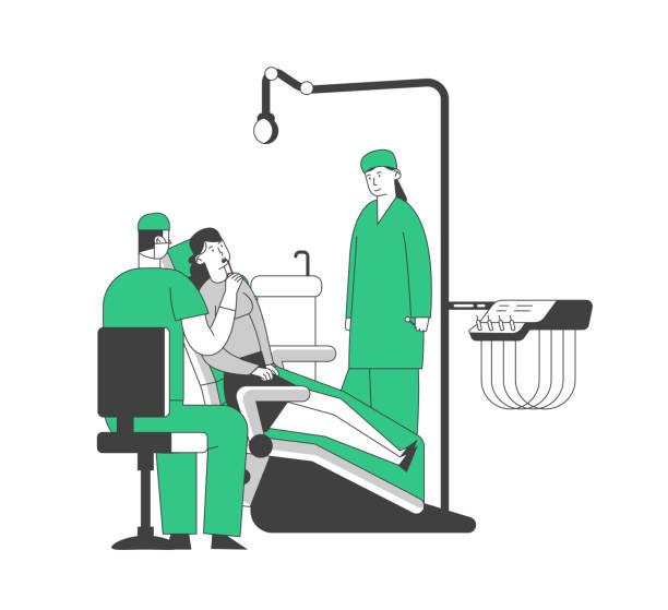 stockillustraties, clipart, cartoons en iconen met vrouw liggend in medische stoel in stomatologist kabinet met apparatuur. arts die de gezondheid van de patiënt uitvoert medische check-up behandeling met verpleegkundige assistentie cartoon platte vector illustratie, lijnwerk - streptococcus mutans