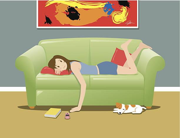 Woman lying on sofa and feeling bored Woman lying on sofa and feeling bored, waiting for phone to ring boredom stock illustrations