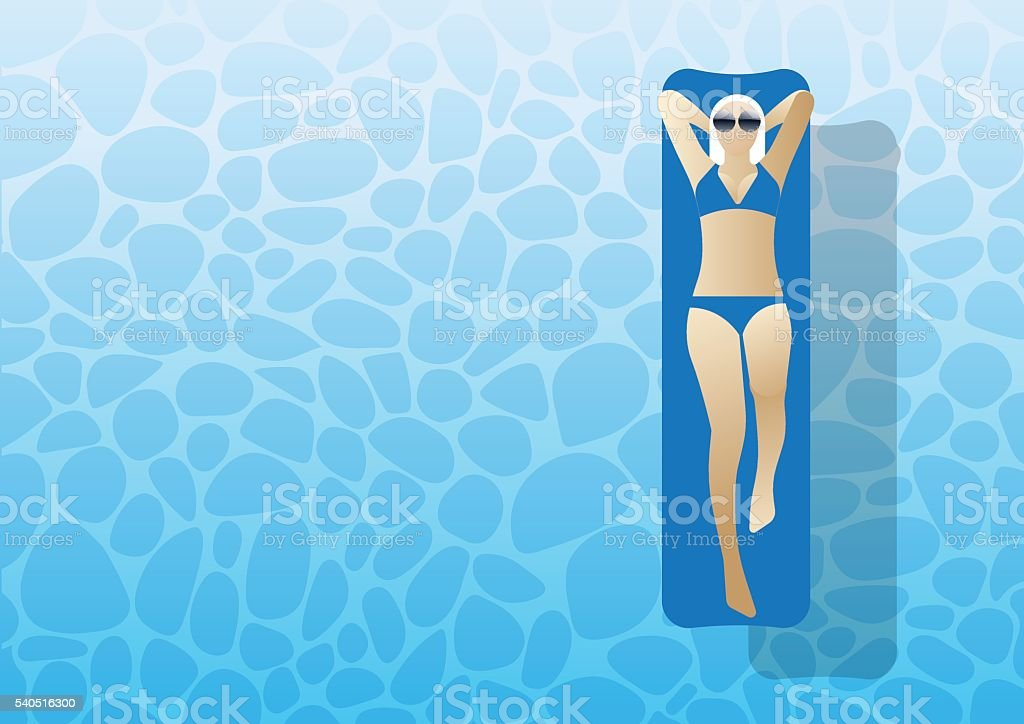 Woman lying on the water vector art illustration
