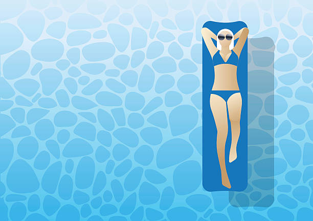 ... Woman lying on the water vector art illustration ...