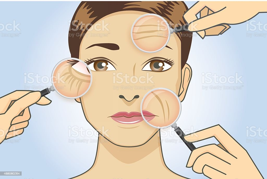 Woman magnifying wrinkle on face vector art illustration
