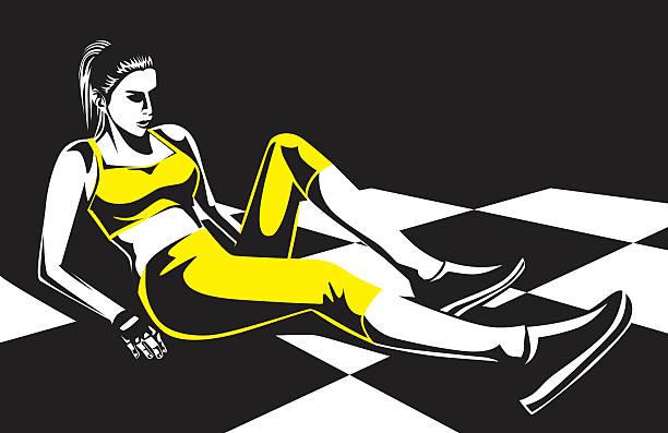 Woman make leg exercise on checkered floor vector art illustration