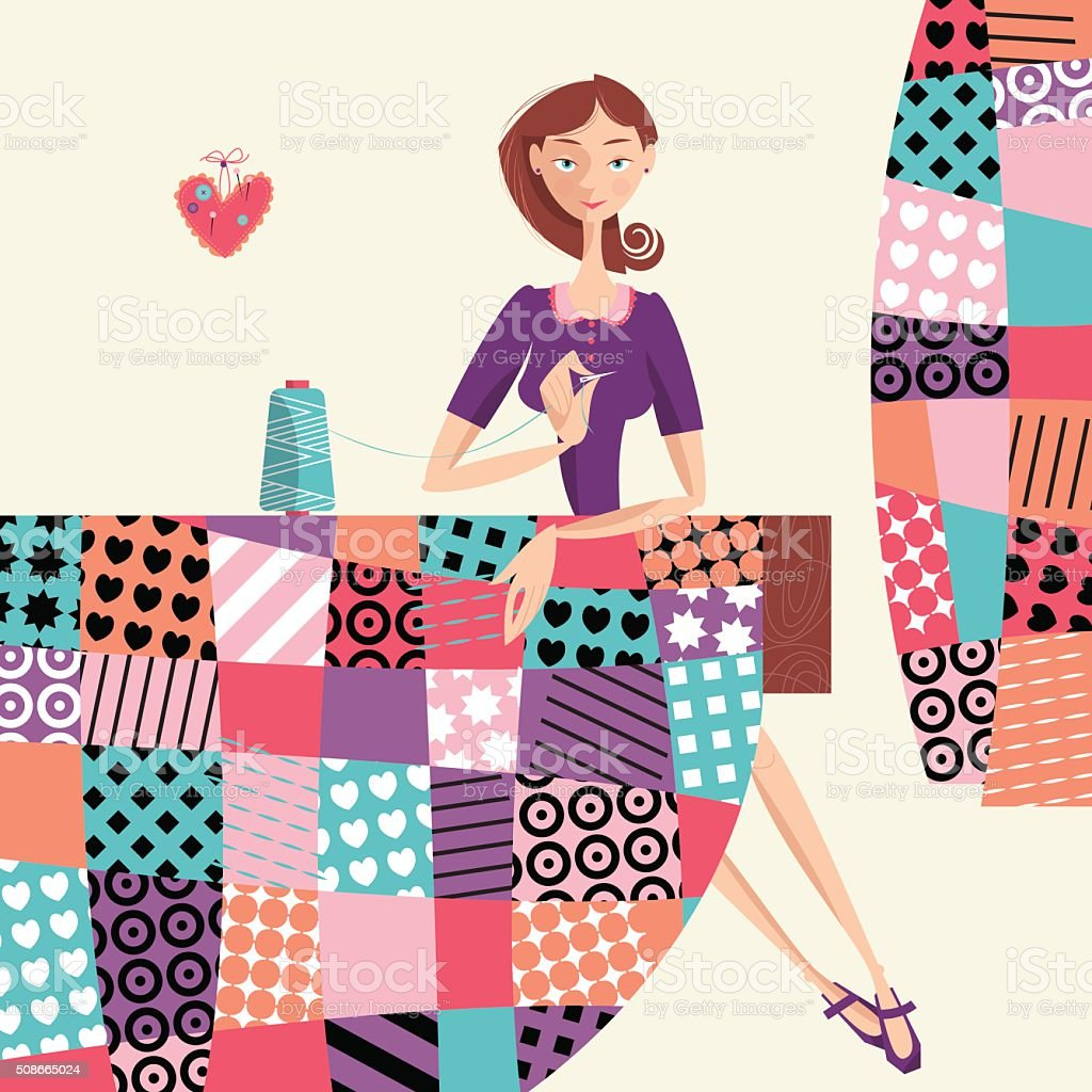 Woman makes a quilt. Patchwork. vector art illustration
