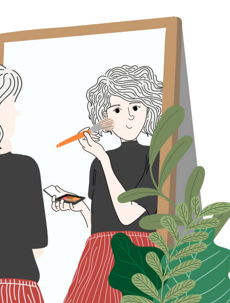 Woman make-up in the mirror, she is ready to go out on vacation. vector art illustration
