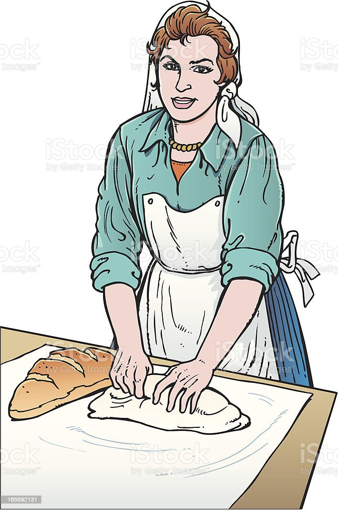 Woman making bread royalty-free stock vector art