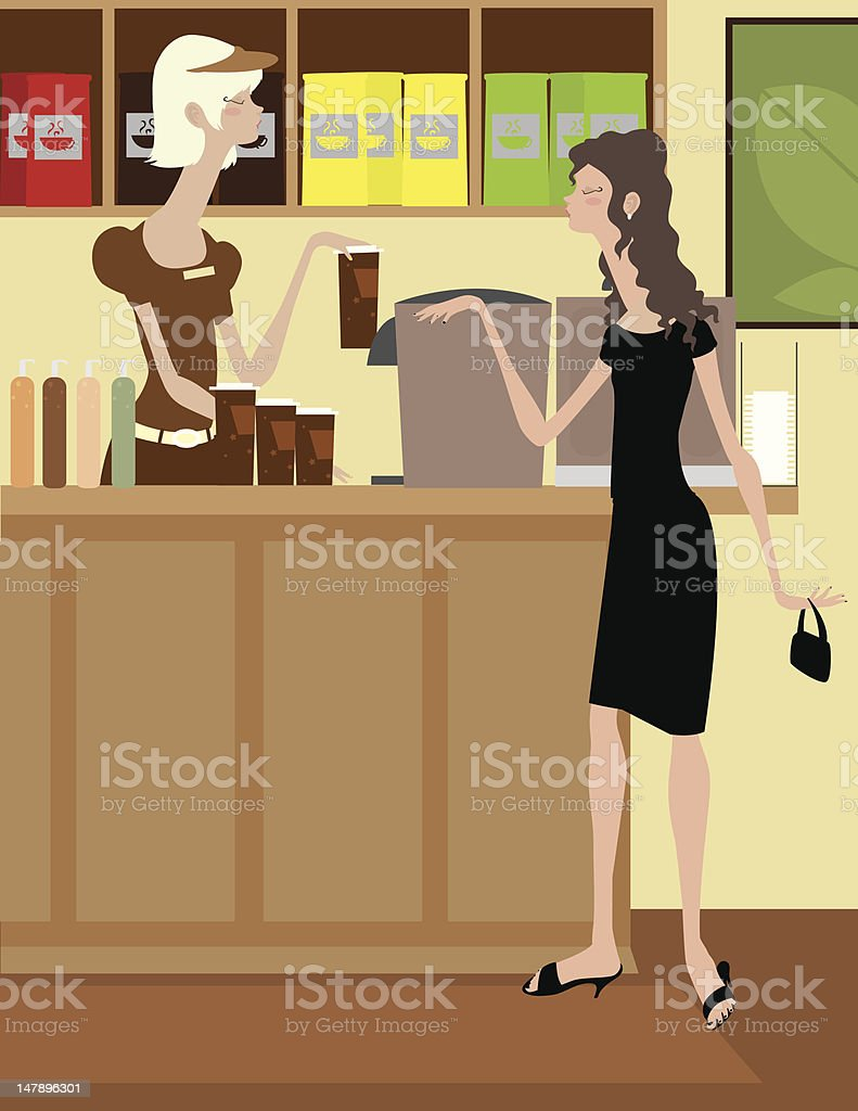 Woman Making Coffee for Customer royalty-free stock vector art