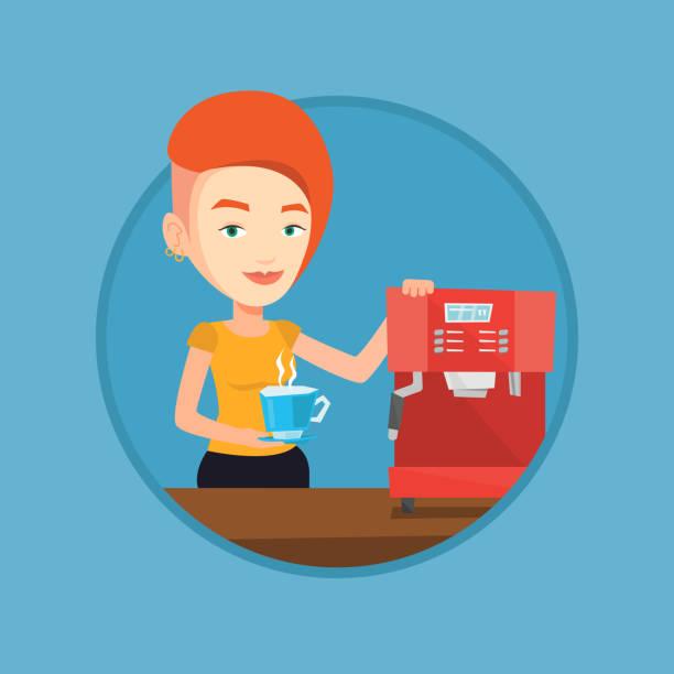 コーヒーのベクトル図を作る女性 - バリスタ点のイラスト素材/クリップアート素材/マンガ素材/アイコン素材