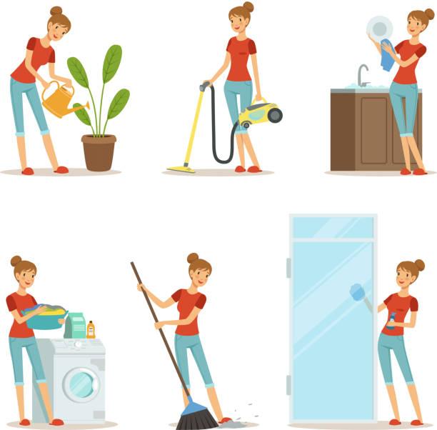 ilustraciones, imágenes clip art, dibujos animados e iconos de stock de mujer haciendo las diferentes tareas domésticas. madre activa en la tarea. ilustración de vector de estilo de dibujos animados - tareas domésticas