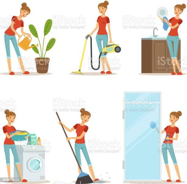 Vrouw Maken Verschillende Huishoudelijk Werk Actieve Moeder Bij Huiswerk Vectorillustratie In Cartoon Stijl Stockvectorkunst en meer beelden van Aan het werk