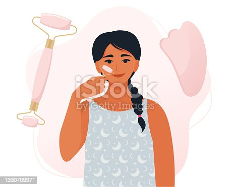 istock Woman making massage from applying quartz or jade gua sha natural stone massager. Facial massage by face roller and gua sha scraper. Beauty procedure concept. Vector illustration in flat style 1330709971