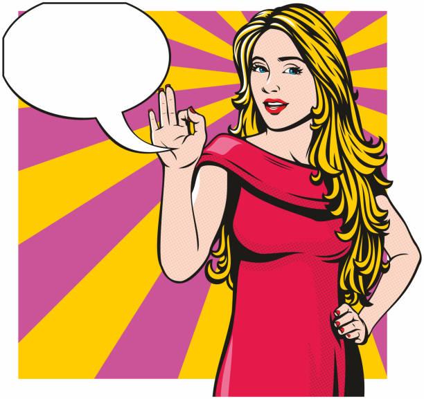Woman Making 'OK' Sign vector art illustration