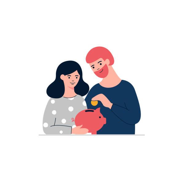 ilustrações de stock, clip art, desenhos animados e ícones de woman, man and piggy bank.  family money saving concept  illustration - save money