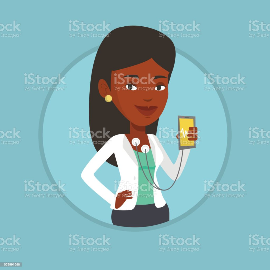 Woman measuring heart rate pulse with smartphone royalty-free woman measuring heart rate pulse with smartphone stock vector art & more images of biomedical illustration