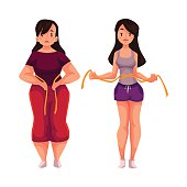 Woman measuring waist before and after loosing weight, cartoon vector illustration isolated on white background. Overweight and athletic version of young woman measuring herselves