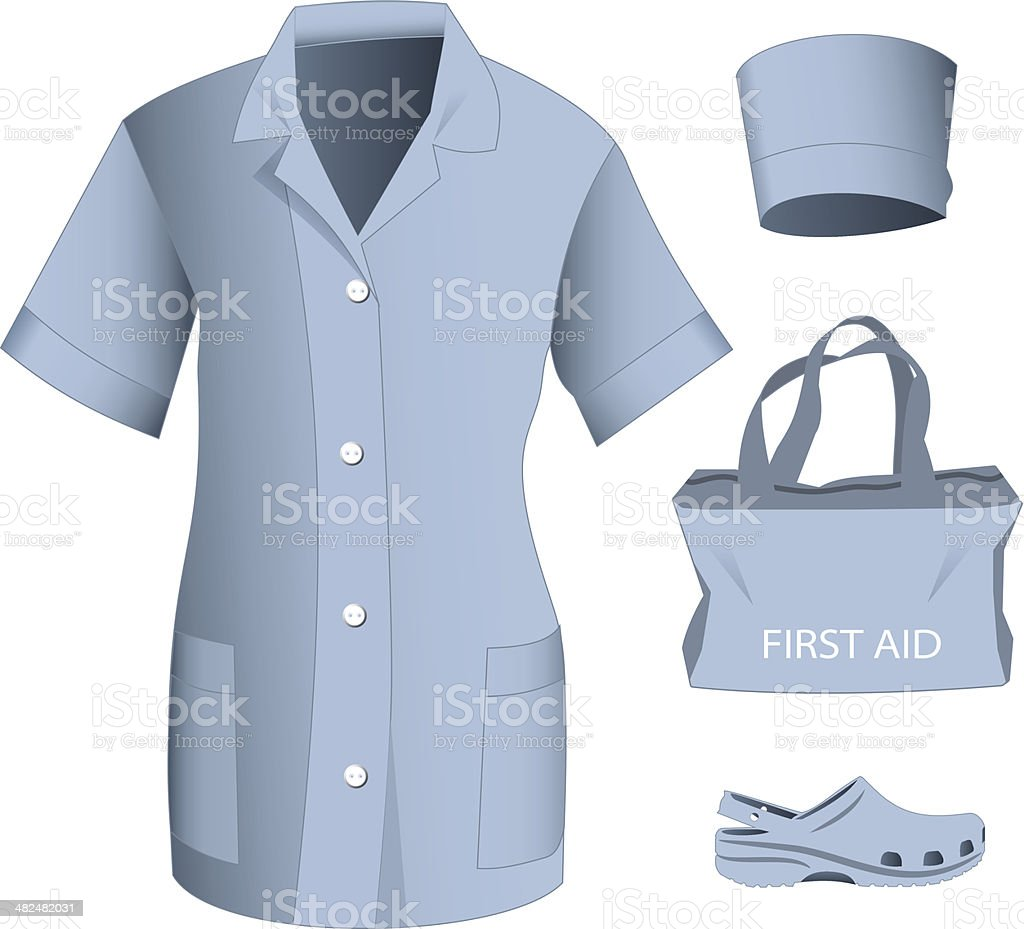 Woman medical clothes set vector art illustration