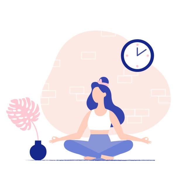女人在家冥想。冥想姿勢。 - 鬆弛 幅插畫檔、美工圖案、卡通及圖標