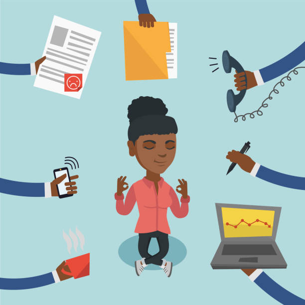 Woman meditating despite having lots of work African-american business woman surrounded by many hands that give her a lot of work. Busy business woman trying to relax meditating in yoga lotus pose. Vector cartoon illustration. Square layout. despite stock illustrations
