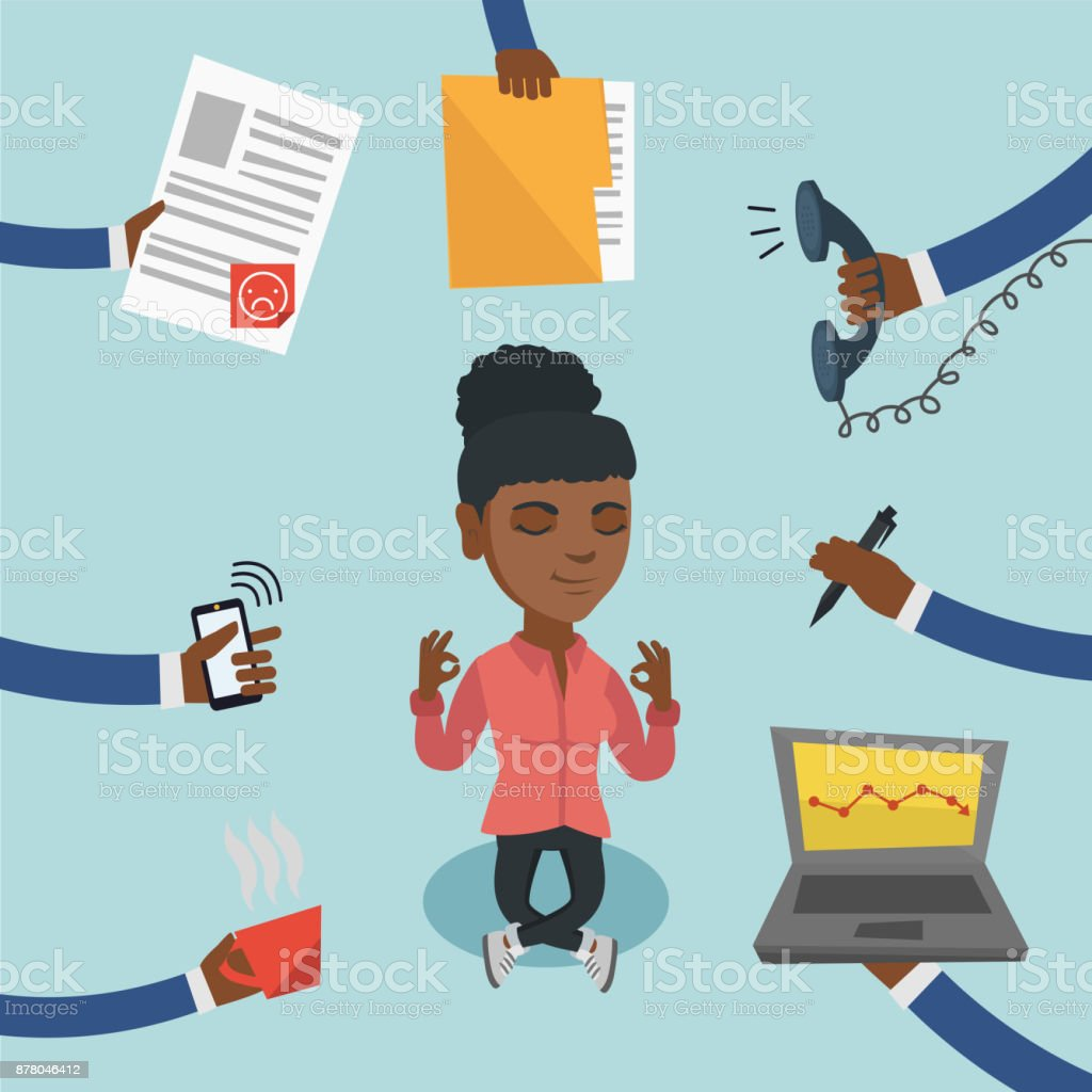Jade L656 laptop and book stack work from home clipart set with african american skin tones Business woman character clipart