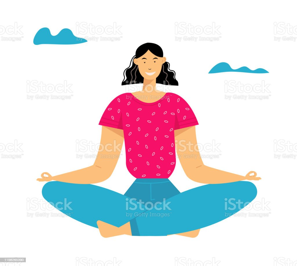 Woman Meditating In Lotus Pose Outdoors Yoga Healthy Lifestyle Relaxation Emotional Balance Summer Vacation Harmony With Nature Summertime Life Positive Mood Cartoon Flat Vector Illustration Stock Illustration Download Image Now Istock