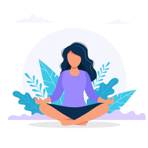Woman meditating in nature. Concept illustration for yoga, meditation, relax, recreation, healthy lifestyle. Vector illustration in flat cartoon style vector art illustration