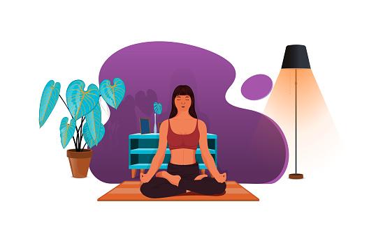 Woman meditating in yoga asana Padmasana  cross legged position for meditation with Chin Mudra isolated on white background,