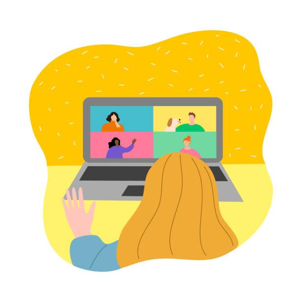 stockillustraties, clipart, cartoons en iconen met vrouw die vrienden via internet ontmoet tijdens isolatie voor bescherming tegen coronavirusbesmetting - avondklok