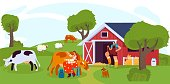 Woman milking cow on farm, people work on ranch, vector illustration. Farmland cattle grazing on summer field, cows and sheep. Cheerful female farmers, countryside lifestyle, domestic livestock ranch