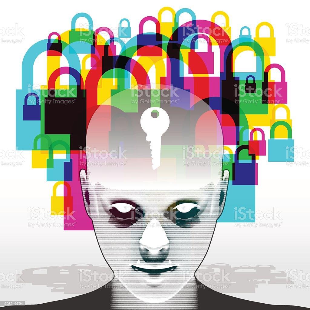 Woman - Mind is the Key vector art illustration