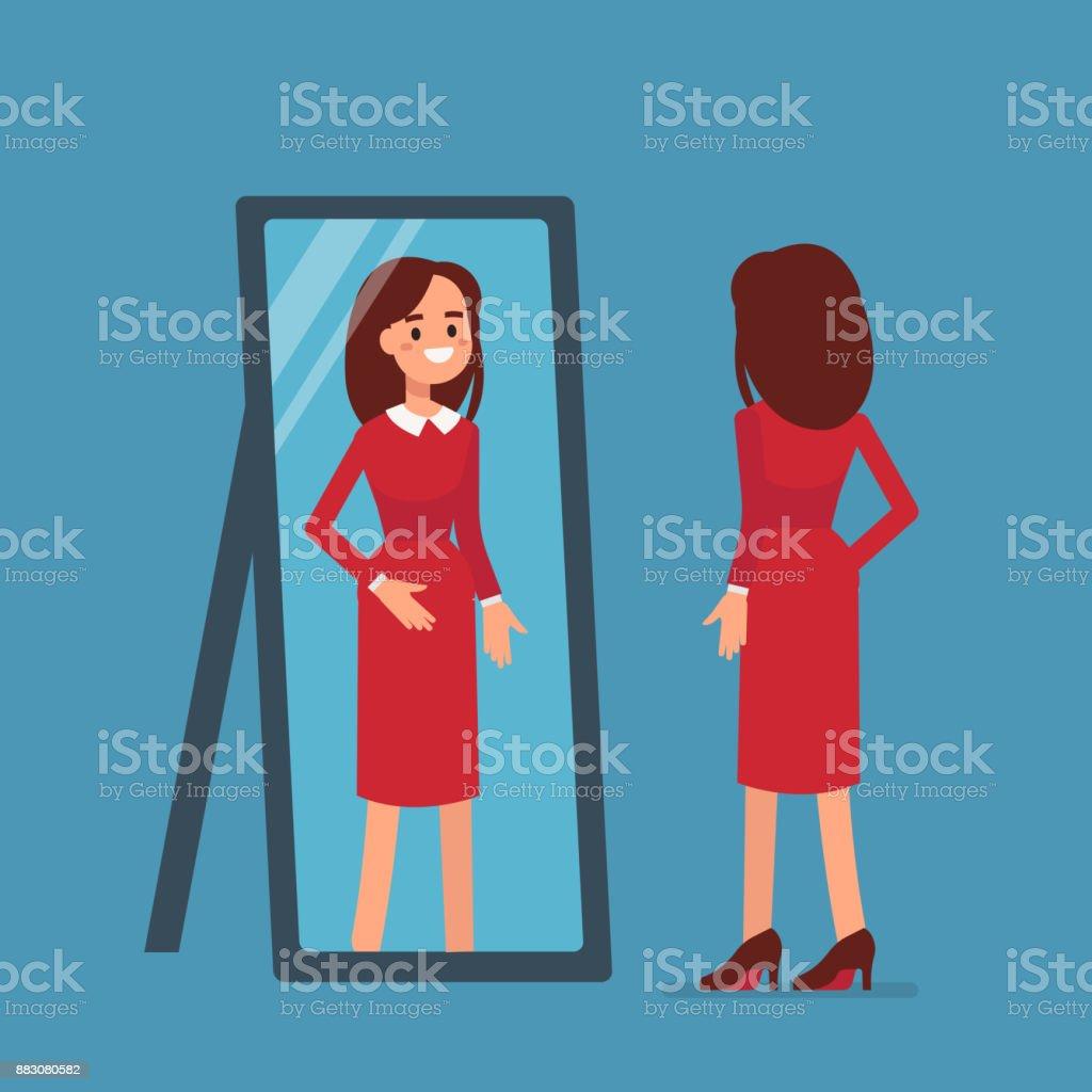 woman mirror vector art illustration
