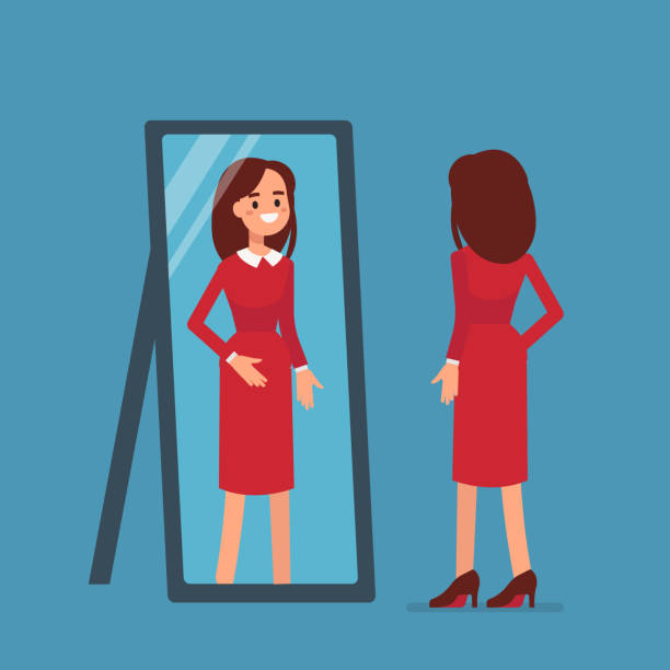 woman mirror - patrzeć stock illustrations