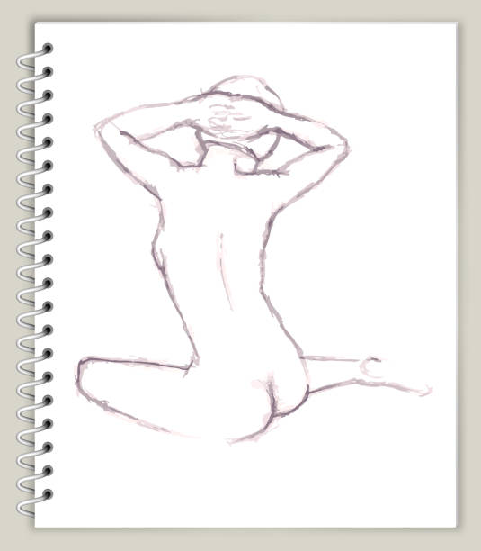 woman Model Drawing on Art Sketcbook royalty free vector art vector art illustration