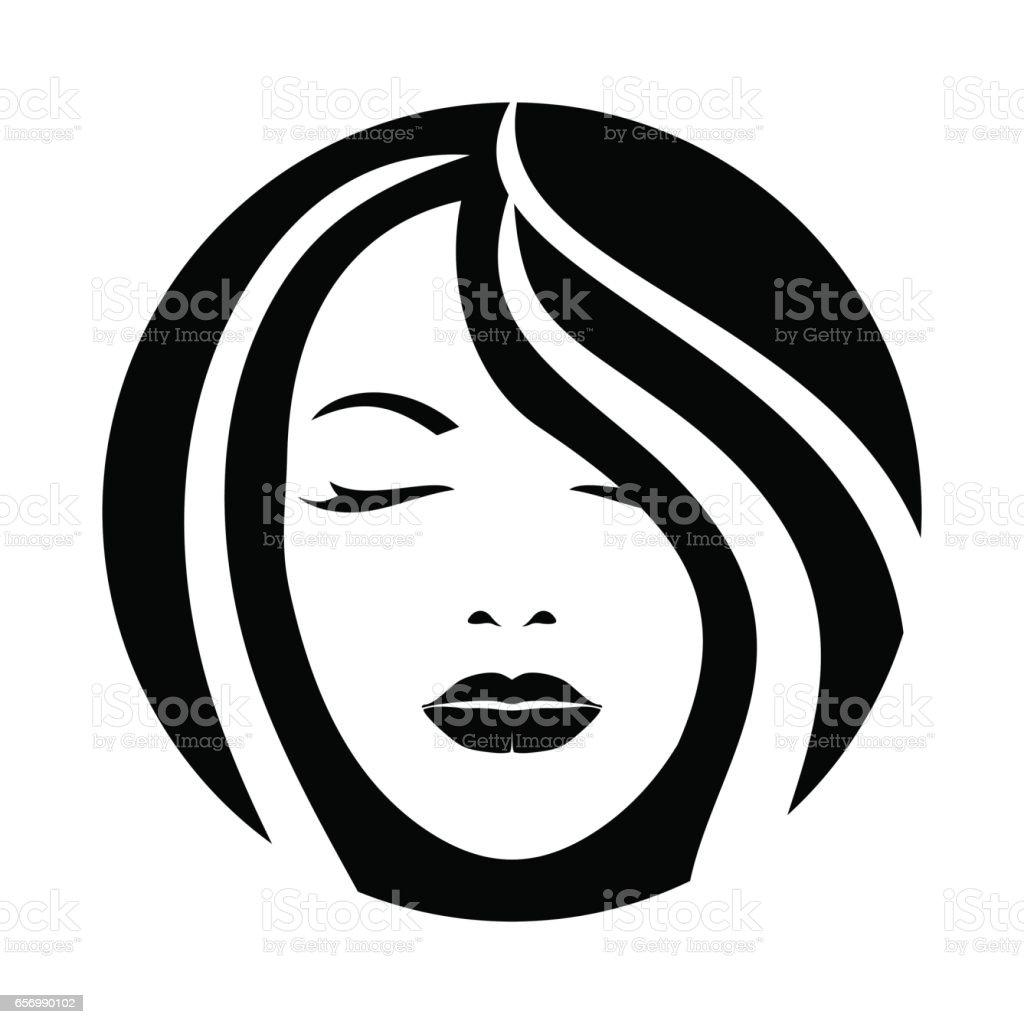 女性モデルの髪の顔アイコン ベクターアートイラスト