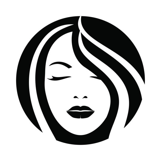 woman model hair face icon - female faces stock illustrations, clip art, cartoons, & icons