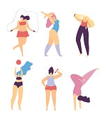 Woman Motivational Flat Banner Love Sport and Make Body Concept Vector Illustration Isolated Active Girls Jumping Rope Doing Fitness Dumbbells Yoga Playing Volleyball Sunbathing Inspirational Template