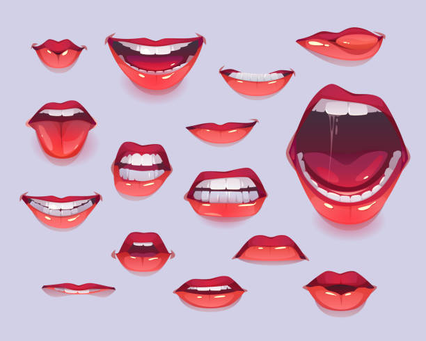Woman mouth set. Red sexy lips expressing emotions vector art illustration