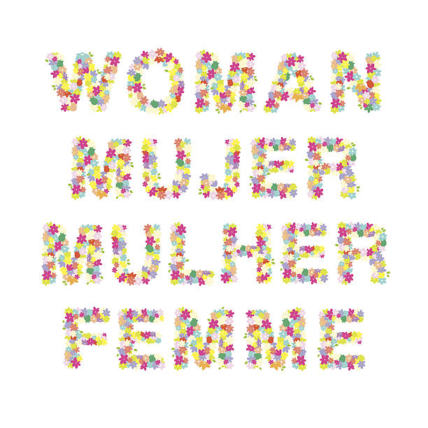 Woman Mujer Mulher Femme Word Woman word in different languages made with flowers - Isolated Vector mulher stock illustrations