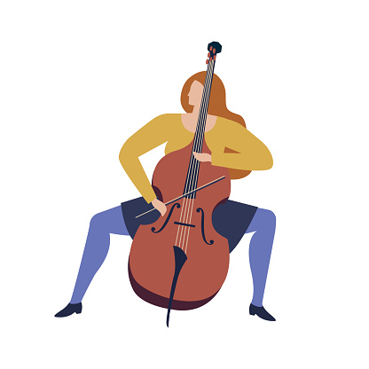 Woman musician playing violoncello cartoon funny illustration in vector. Women professions collection.