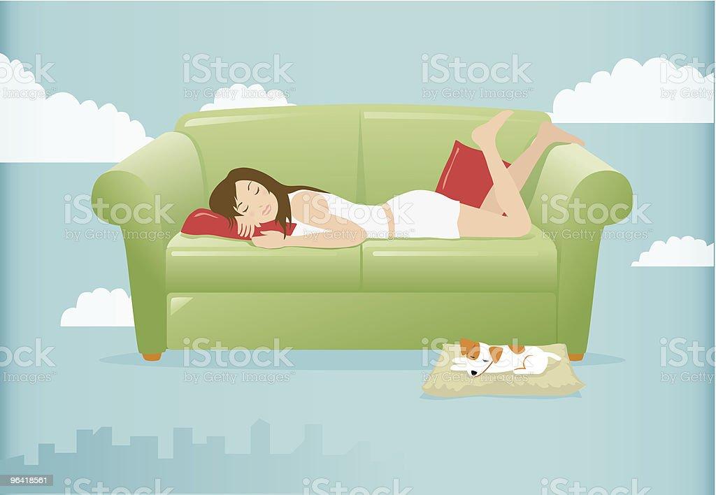 Woman napping vector art illustration