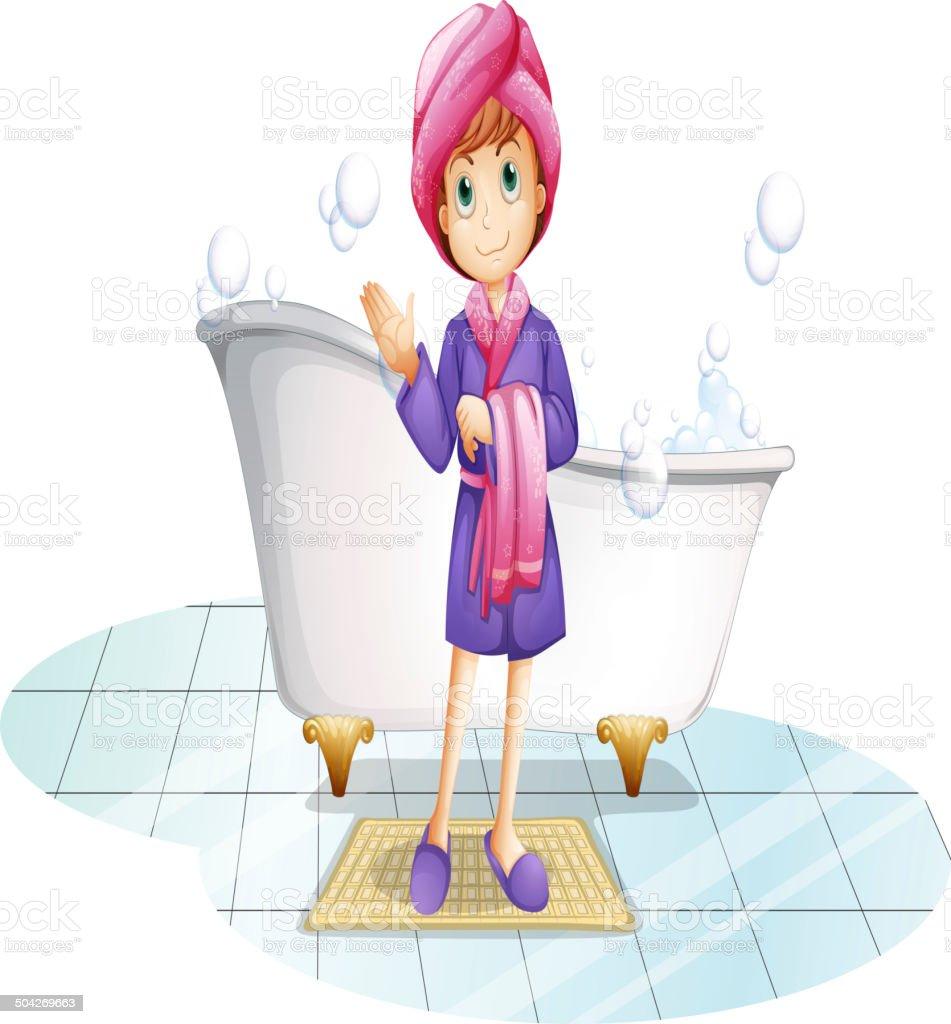 Woman near the bathtub vector art illustration