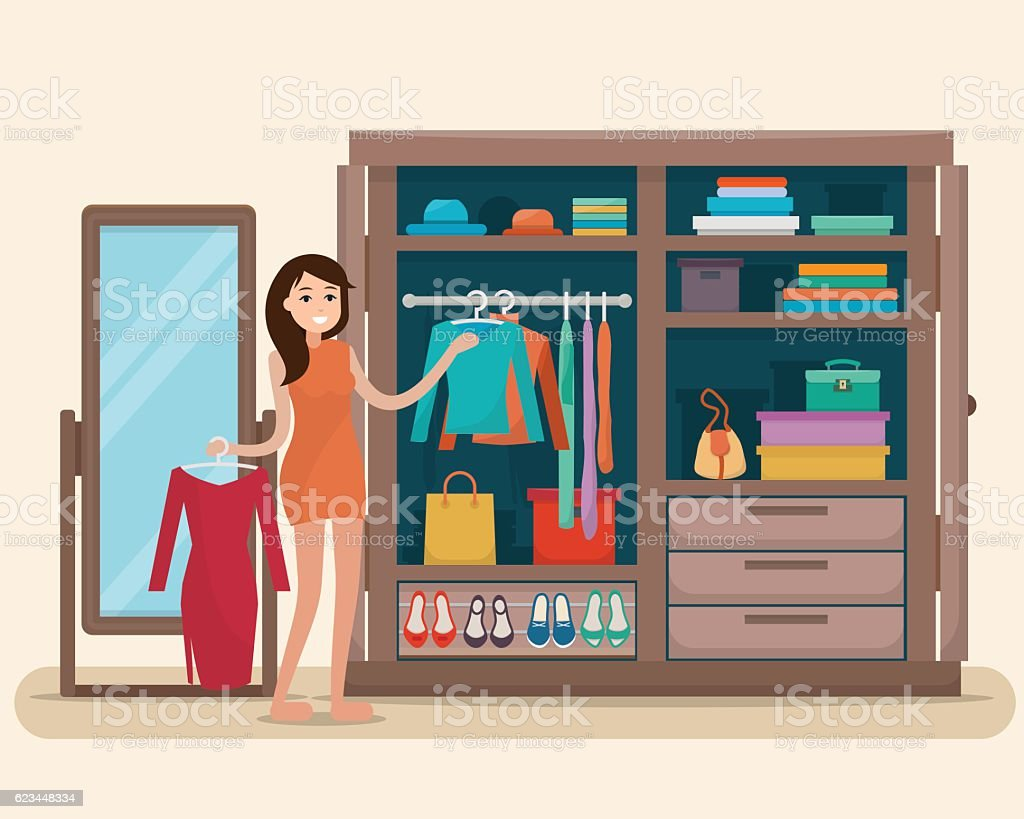 Woman near wardrobe for cloths with mirror. – Vektorgrafik