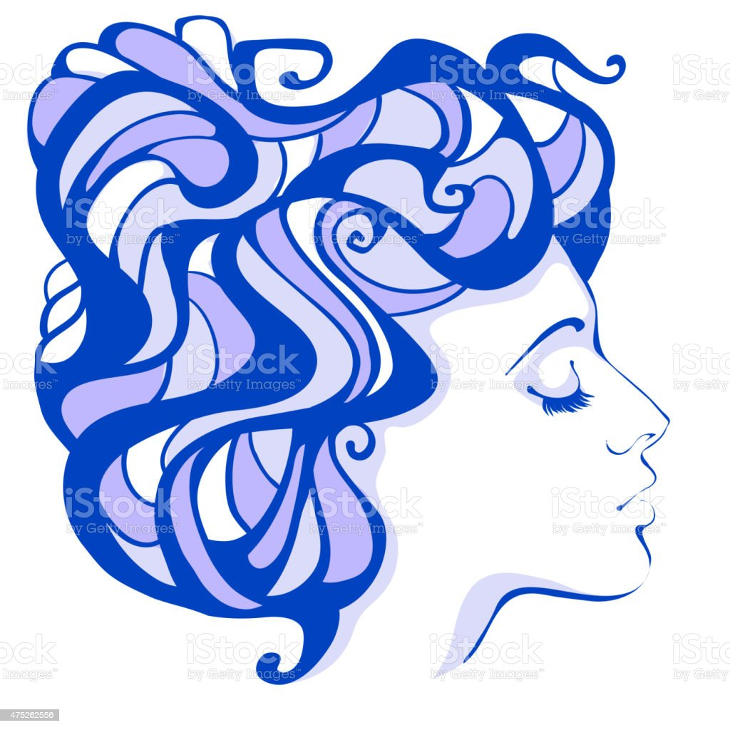 woman Nouveau vector art illustration