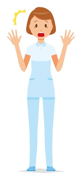 A woman nurse wearing a white uniform is surprised stock for Uniform spa vector